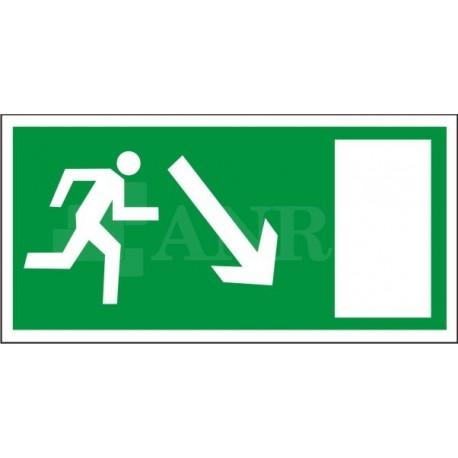 Kierunek do wyjścia drogi ewakuacyjnej w dół w prawo 150x300