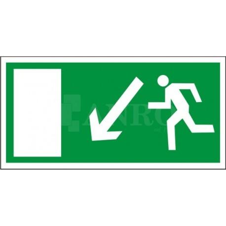 Kierunek do wyjścia drogi ewakuacyjnej w dół w lewo 150x300