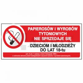 Papierosów i wyrobów tytoniowych nie sprzedaje się 150x300