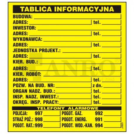 Tablica budowlana informacyjna 500x700