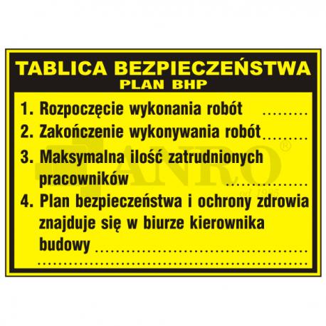 Tablica bezpieczeństwa plan BHP 500x700