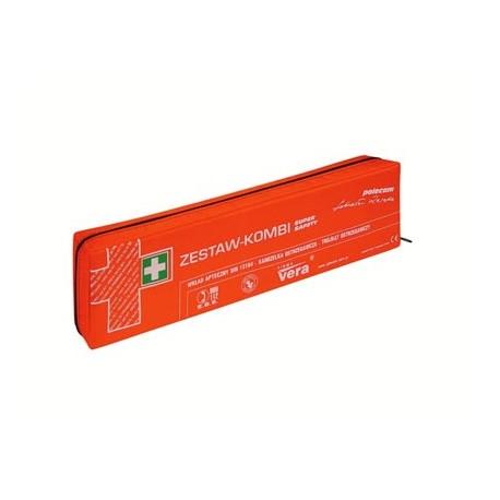 Apteczka pierwszej pomocy SUPER SAFETY PLUS z trójkątem i kamizelką ostrzegawczą w saszetce