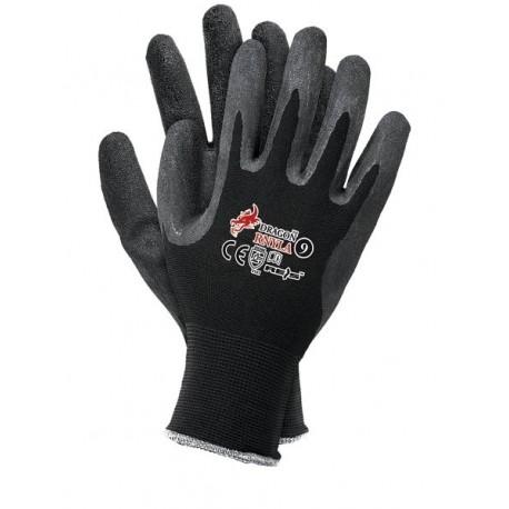 Rękawice ochronne nylonowo-latexowe czarne 12par
