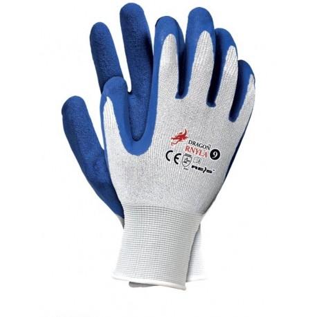 Rękawice nylonowo-latexowe RNYLA białe 12par