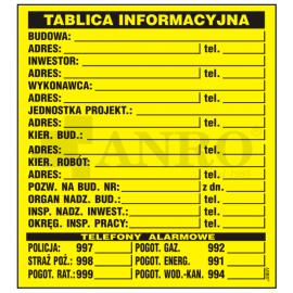 Tablica budowlana informacyjna 700x900