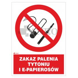 Zakaz palenia tytoniu i e-papierosów 150x205