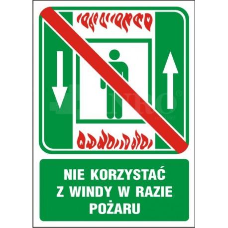Nie korzystać z windy w razie pożaru 150x205