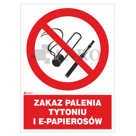 Zakaz palenia tytoniu i e-papierosów 200x300