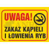 """Tablica """"Zakaz kąpieli i łowienia ryb"""" 250x350"""