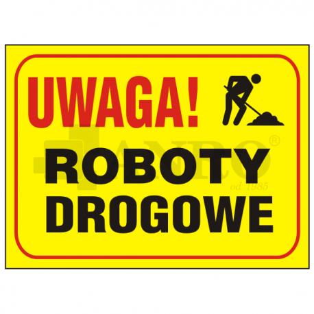 "Tablica ""Uwaga roboty drogowe"" 250x350"
