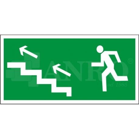Kierunek do wyjścia drogi ewakuacyjnej schodami w górę lewe 150x300