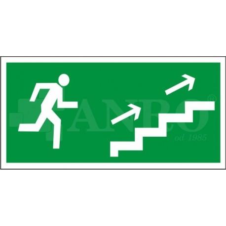 Kierunek do wyjścia drogi ewakuacyjnej schodami w górę prawe 150x300