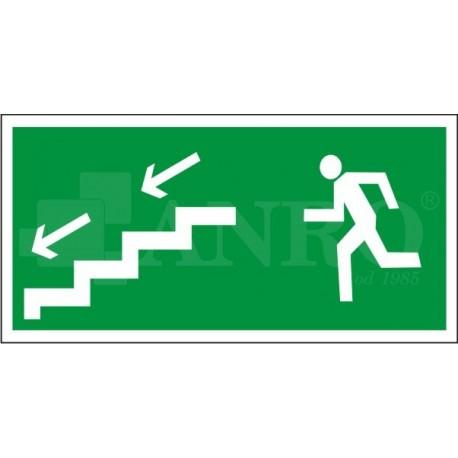Kierunek do wyjścia drogi ewakuacyjnej schodami w dół lewe 150x300
