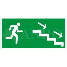 Kierunek do wyjścia drogi ewakuacyjnej schodami w dół prawe 150x300