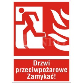 Drzwi przeciwpożarowe ZAMYKAĆ! lewe 150x205