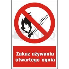 Zakaz używania otwartego ognia 200x300